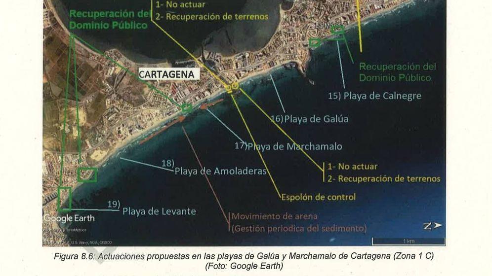 Foto: Actuaciones propuestas por CEDEX para Costas en uno de los tramos de la Manga del Mar Menor