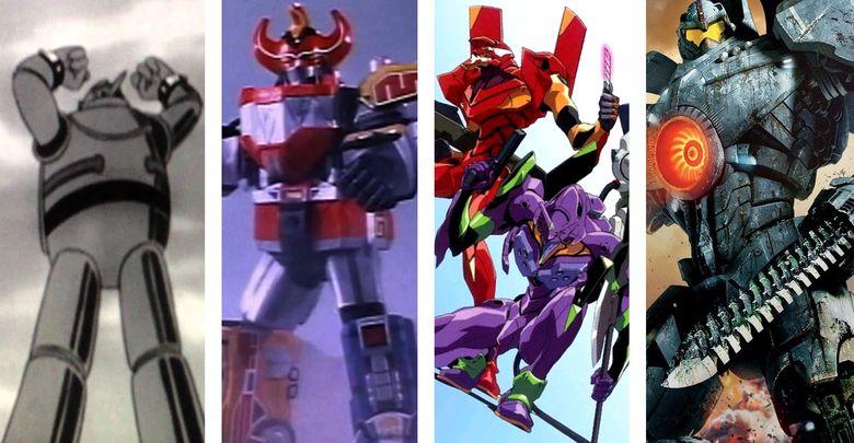 Foto: Imágenes de 'Gigantor' (1963), 'Bioman' (1985), 'Evangelion' (1995) y 'Pacific Rim' (2013).