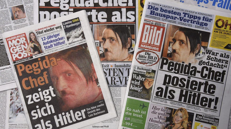 Foto: El jefe del movimiento islamófobo Pegida imita a Hitler. (EFE)