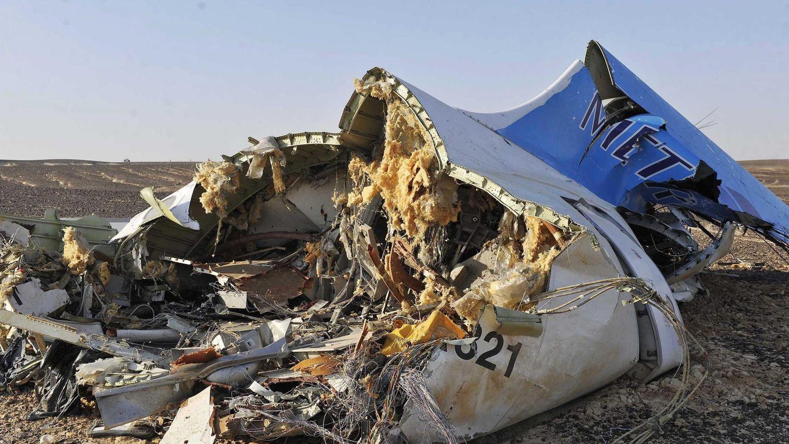 Foto: Restos del Airbus a321 de la compañía rusa metrojet siniestrado