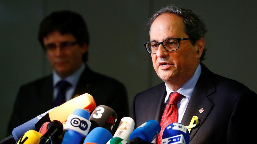 Foto: Carles Puigdemont y Quim Torra en su rueda de prensa conjunta desde Berlín. (EFE)