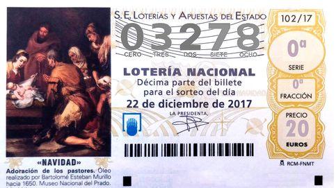 El quinto de los quintos premios de la Lotería de Navidad cae en el 03.278