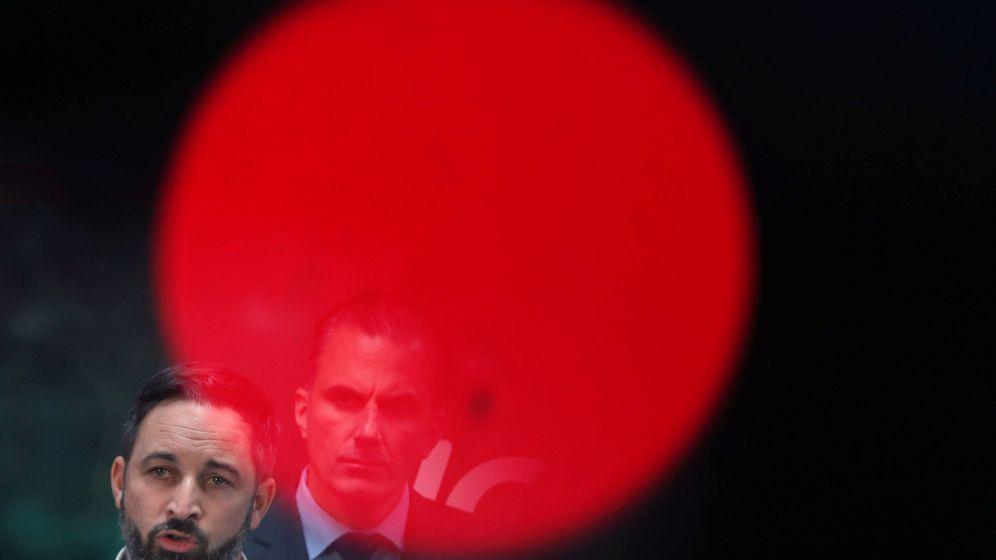 Foto: Santiago Abascal, hoy durante la rueda de prensa en la sede de Vox. (Reuters)