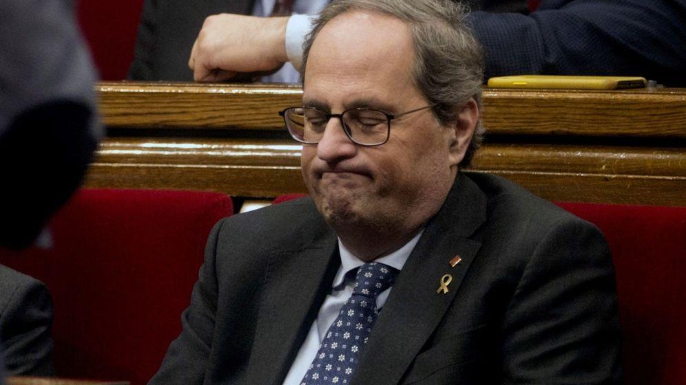 Foto: El presidente de la Generalitat, Quim Torra, durante el pleno monográfico del Parlament. (EFE)