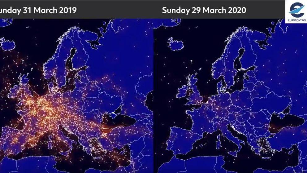 Así afecta al tráfico aéreo el coronavirus: vídeo del antes y el después