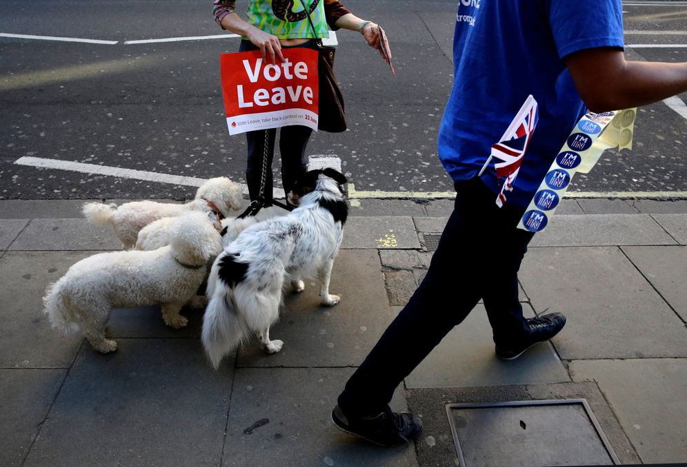Foto: Miembros de la campaña a favor de la salida en Londres, el 20 de junio (Reuters)