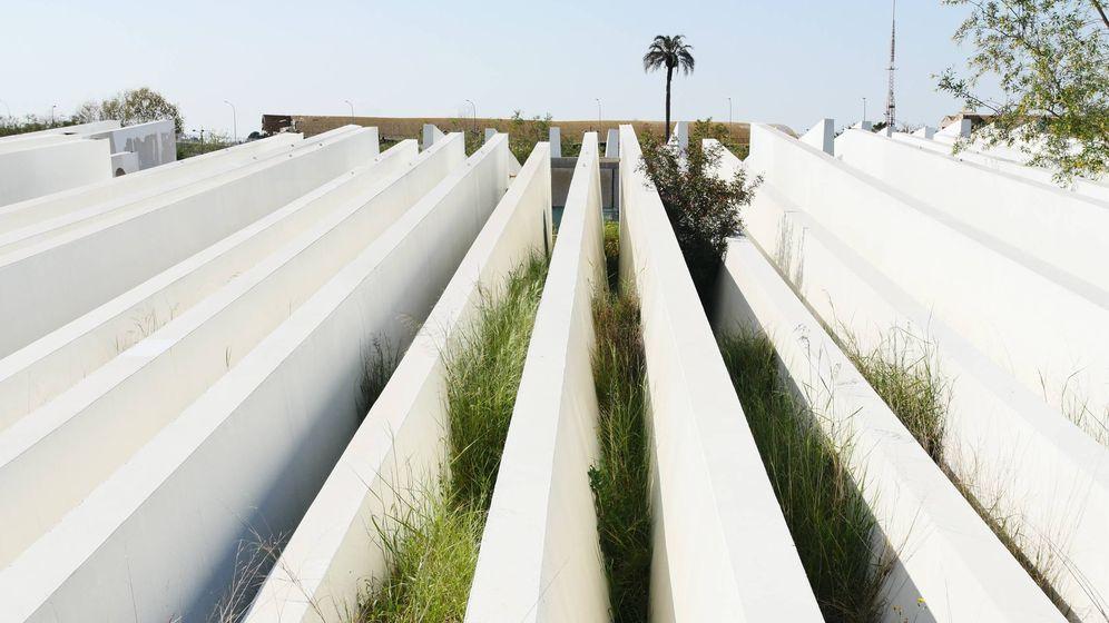 Foto: Las lamas de acero del Ágora tiradas en un solar cercano a la Ciudad de las Ciencias. (Ximo Romero)