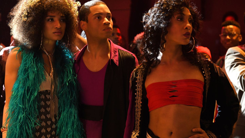 Indya Moore como Angel, Ryan Jamaal Swain como Damon y Mj Rodriguez en el papel de Blanca. (HBO)