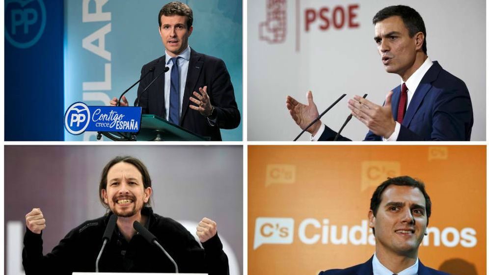 Foto: Pablo Casado (PP), Pedro Sánchez (PSOE), Pablo Iglesias (Podemos) y Albert Rivera (Cs). (Montaje: EC)