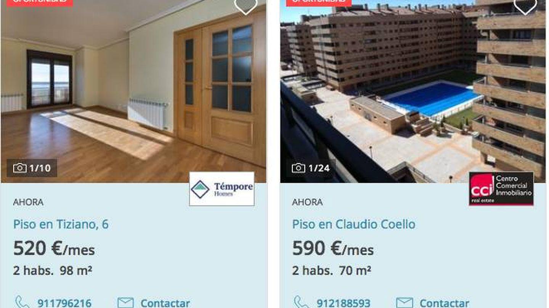 Dos ejemplos de oferta de vivienda en El Quiñón. (Fotocasa)
