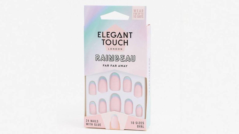 Manicura press-on Rainbeau de Elegant Touch.