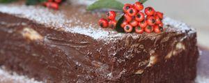 Un postre contundente: adoquín navideño de chocolate y crema de vainilla