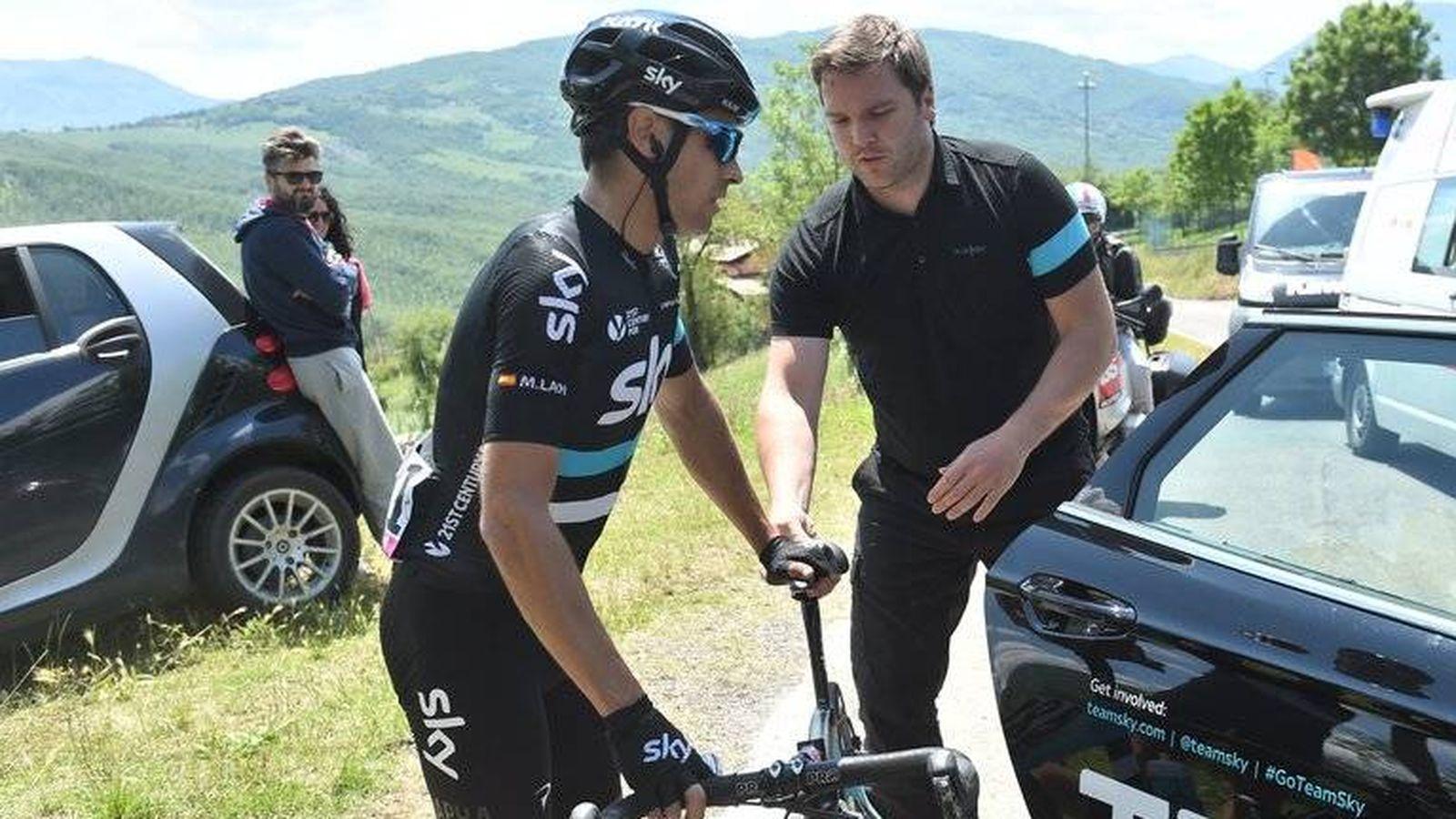Foto: Momento en el que Landa se baja de la bici (Team Sky).