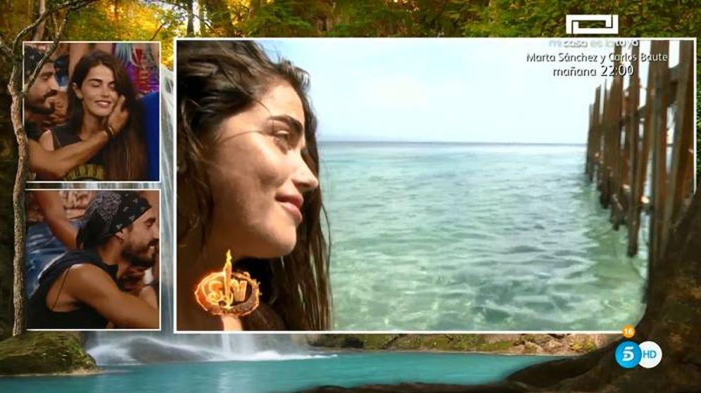 Foto: Violeta disculpándose con Fabio en 'Supervivientes 2019'. (Telecinco)
