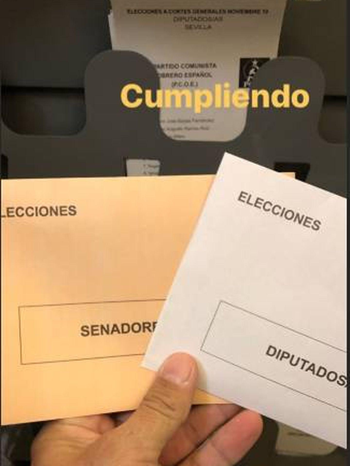 Francisco Rivera muestra sus papeletas en Instagram. (IG)