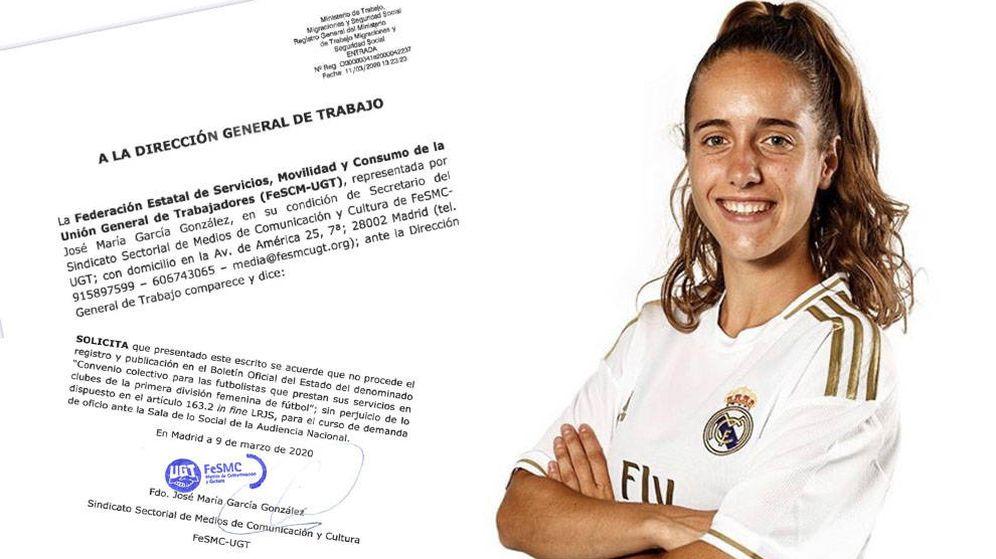 Foto: Carta de UGT a la Dirección de General de Trabajo y Maite Oroz, ex del Athletic, con la camiseta del Real Madrid