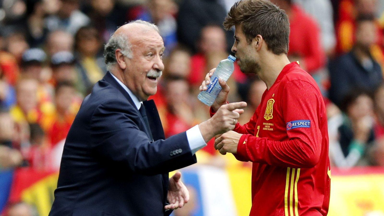 Foto: Del Bosque habla con Piqué durante el España-República Checa. (EFE)