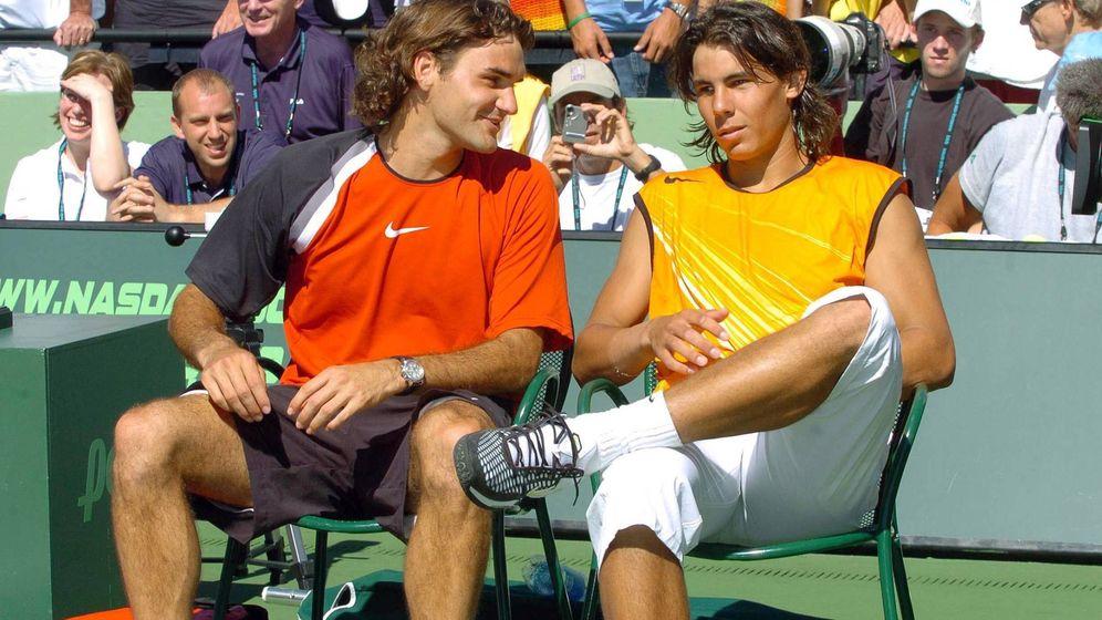 Foto: Federer y Nadal, en 2005, en su primera final en Miami. (imago)