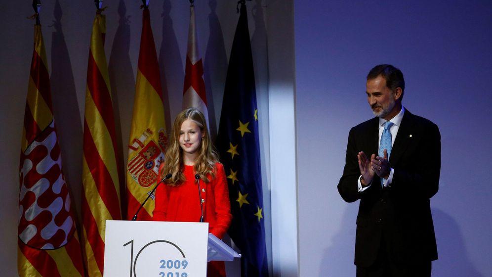 Foto: La princesa Leonor y el Rey, en la entrega de los Premios Princesa de Girona. (EFE)
