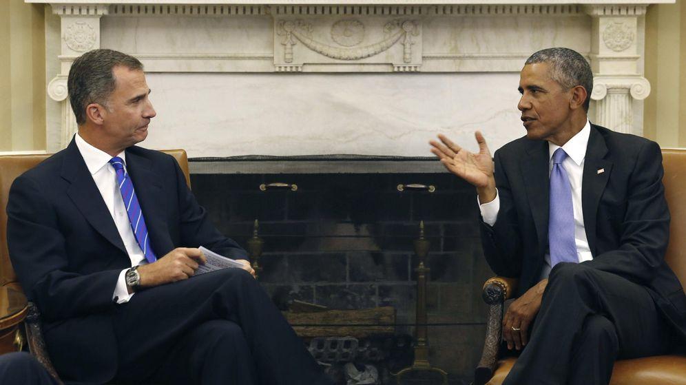 Foto: El rey Felipe y el presidente de EEUU, Barack Obama durante el encuentro que han mantenido en el despacho oval de la Casa Blanca. (EFE)
