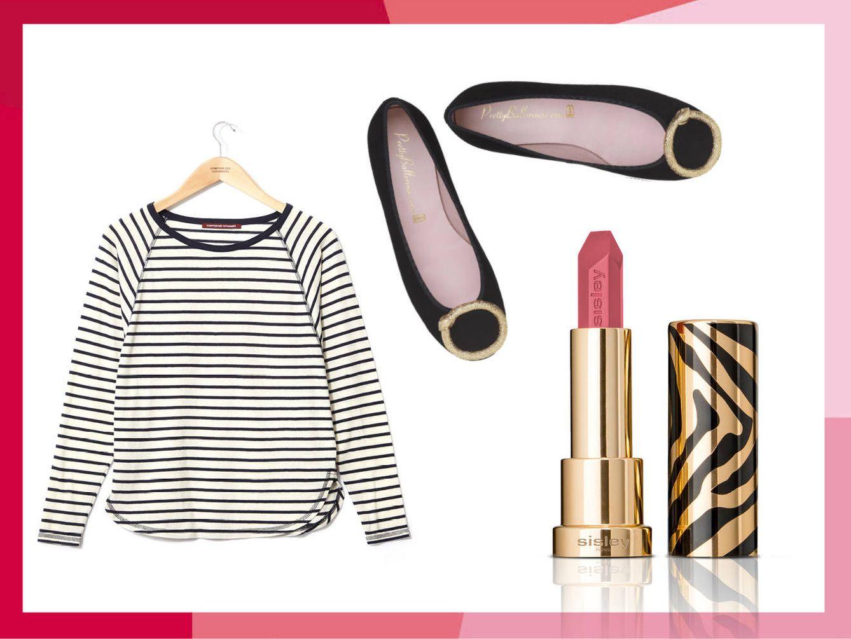Camiseta de Comptoir des Cotonniers, bailarina de Pretty Ballerinas y labial Le Phyto Rouge en tono Paris.