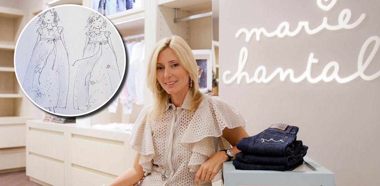 Foto: Marie-Chantal diseñó unos vestidos en tonos azul pastel, blanco y plata para las pequeñas pajes (Mariechantal.com)