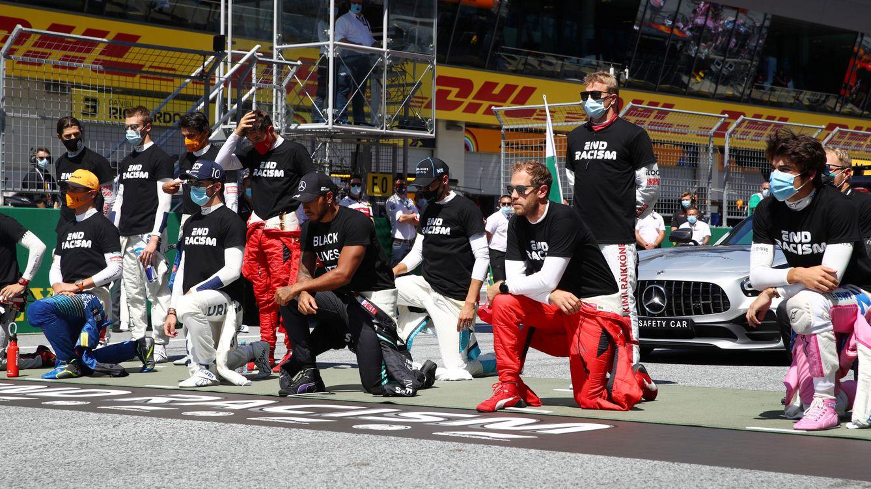 Quién iba a creer que Kimi Raikkonen se arrodillaría porque se lo pidió Hamilton