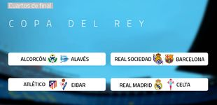 Post de Real Madrid-Celta, Real Sociedad-Barça y Atlético-Eibar, en los cuartos de Copa