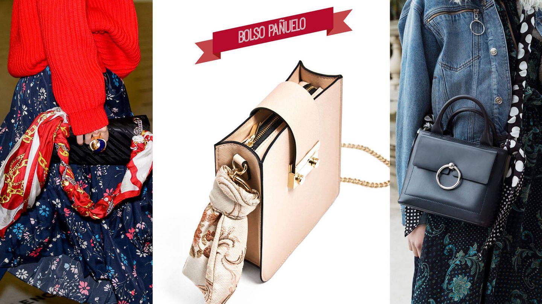 Bolso con pañuelo en la pasarela de Balenciaga. Bandolera en tono nude de Zara (17,99 €). Bolso Anouck, de Claudie Pierlot (c.p.v.).