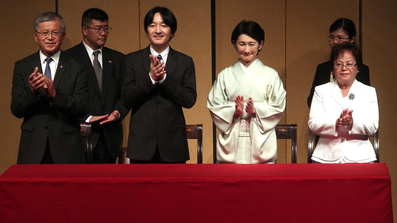 El príncipe Fumihito de Japón, junto a su esposa, en su viaje oficial a Guatemala. (EFE)