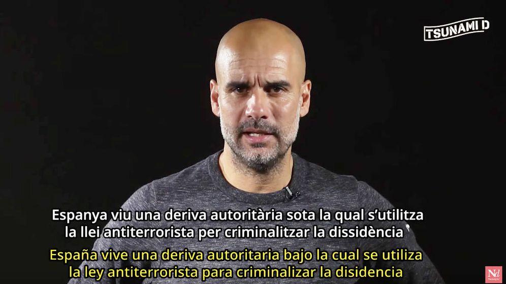 Foto: Pep Guardiola en un vídeo difundido por 'Tsunami Democràtic'.