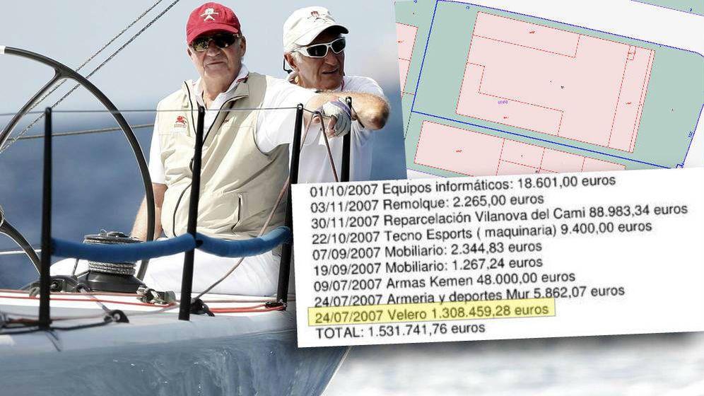 Foto: Josep Cusí y el Rey emérito. Un plano de la nave industrial que vendió y un listado donde se invirtió parte del dinero.