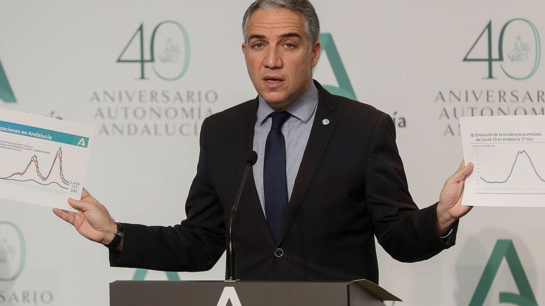 El consejero de la Presidencia, Administración Pública e Interior y portavoz del Ejecutivo andaluz, Elías Bendodo. (EFE)