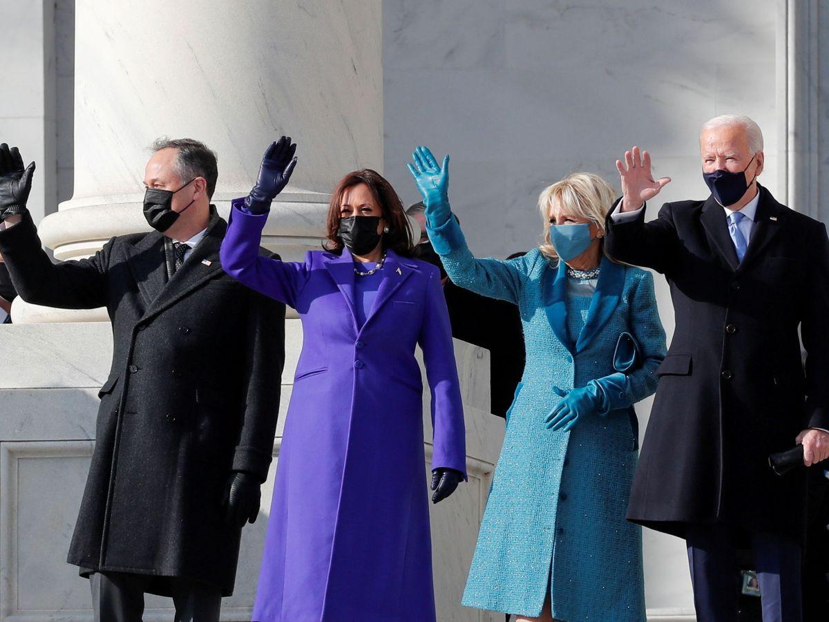 Foto: Joe Biden, Jill Biden, Kamala Harris y Doug Emhoff. (Reuters)