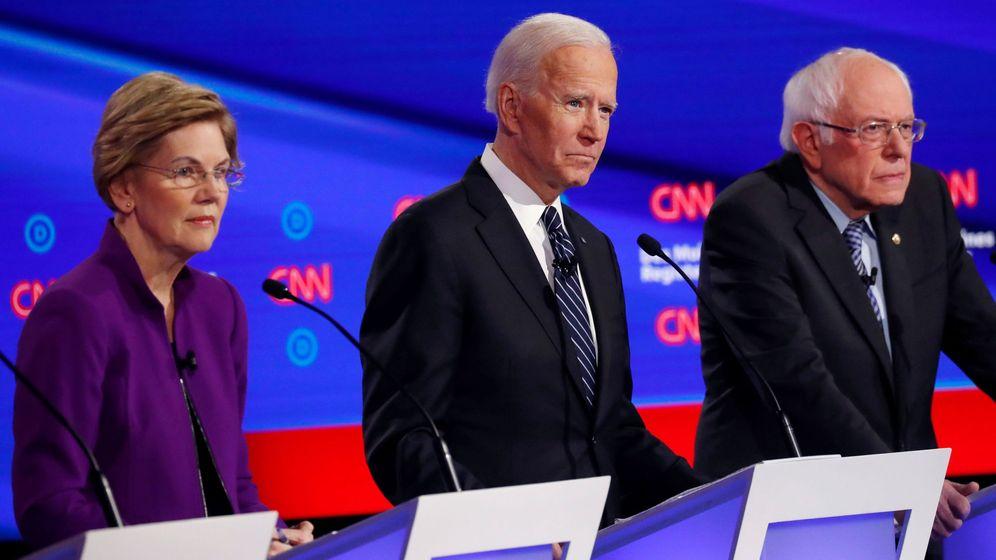 Foto: Elizabeth Warren, Joe Biden y Bernie Sanders. (Reuters)