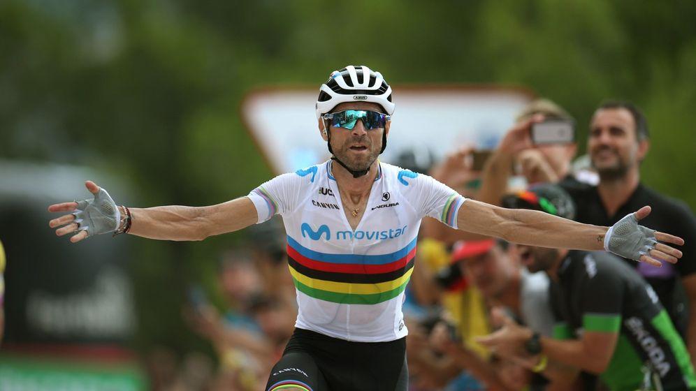 Foto: Alejandro Valverde celebra su victoria en la séptima etapa de la Vuelta con final en Mas de la Costa. (EFE)