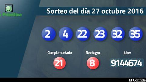 Resultados del sorteo de la Primitiva del 27 octubre 2016: números 2, 4, 22, 23, 32, 35