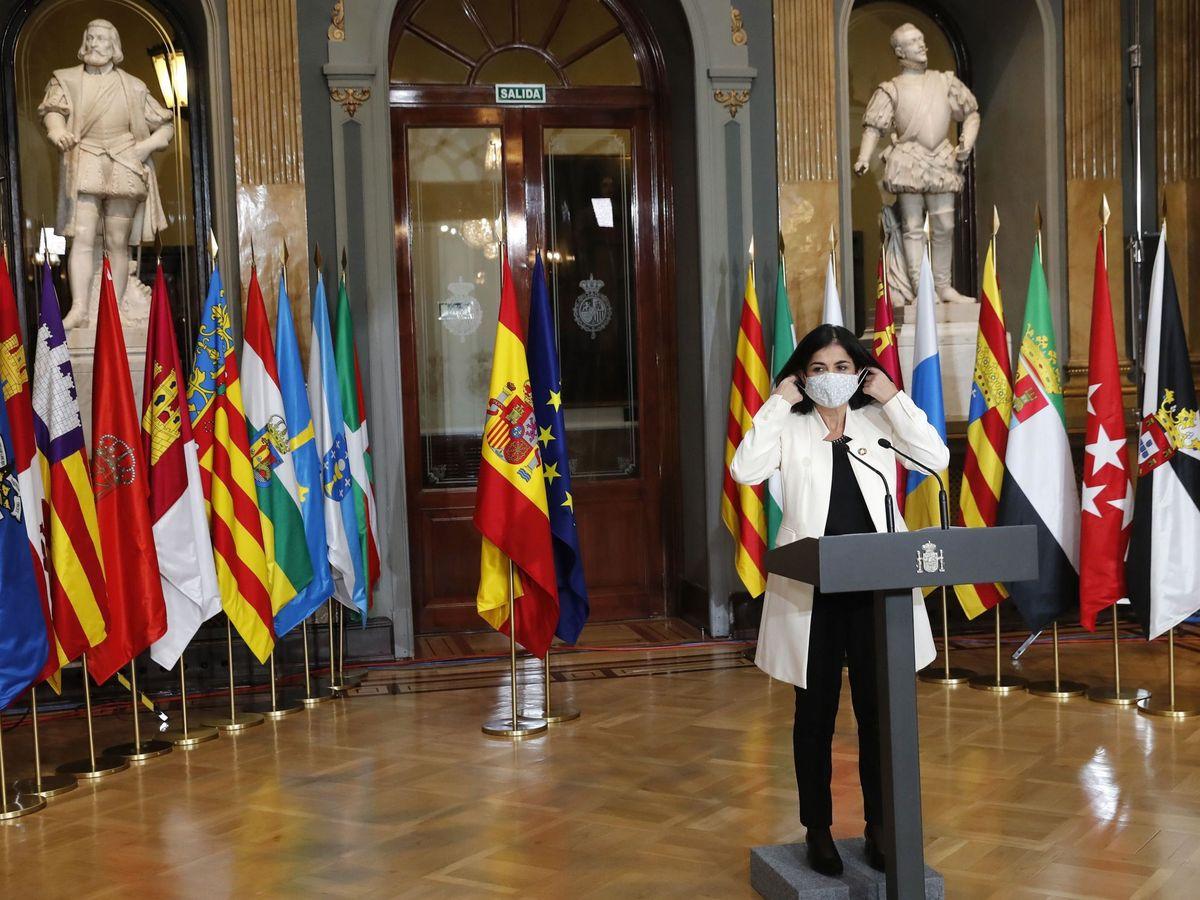 Foto: La ministra de Política Territorial y Función Pública, Carolina Darias, durante la rueda de prensa posterior a la Conferencia de presidentes autonómicos celebrada este lunes. (EFE)
