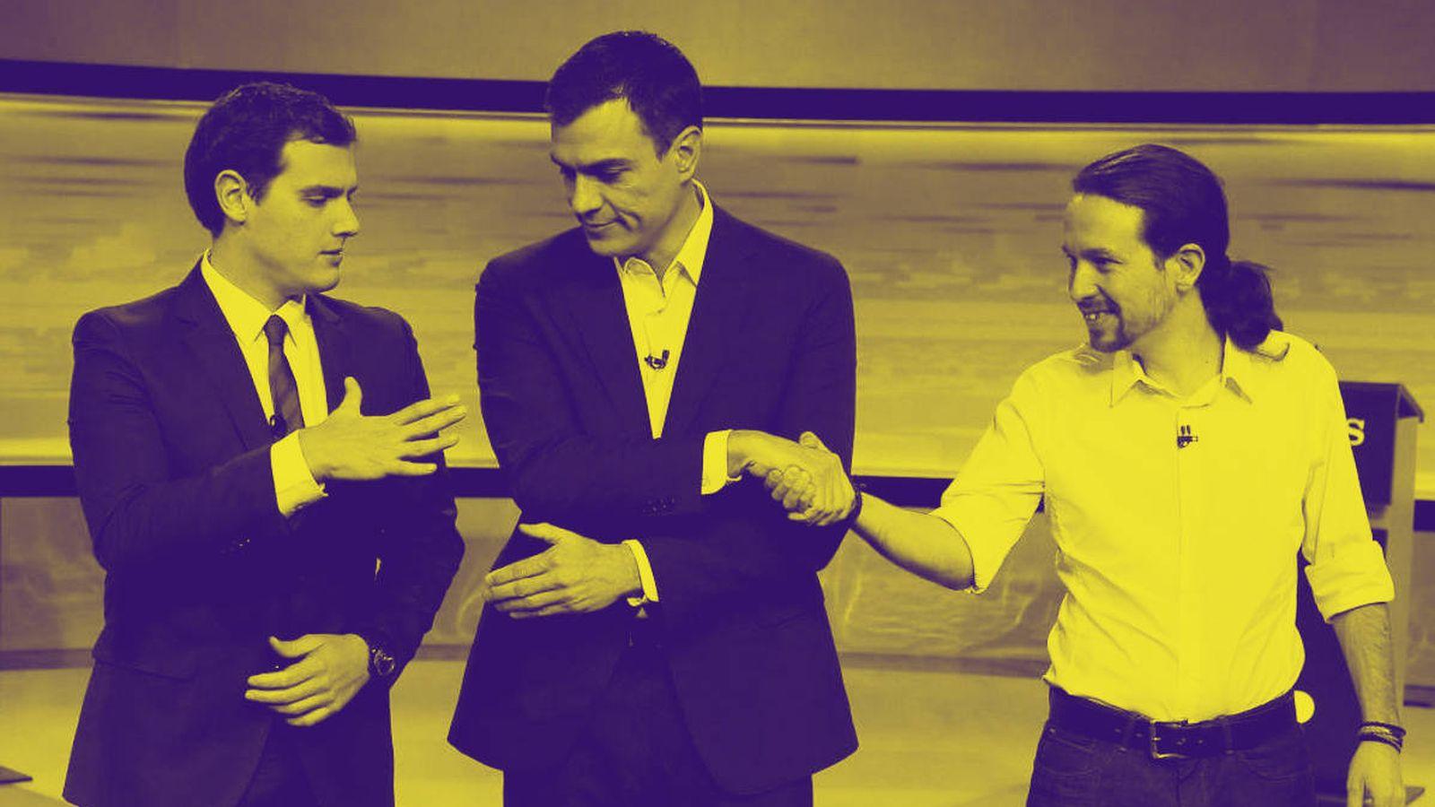 Foto: Albert Rivera (d), Pedro Sánchez y Pablo Iglesias en diciembre del 2015. (EFE)