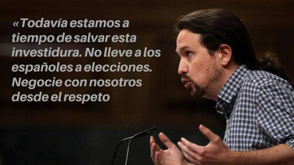 Foto: Pablo Iglesias, durante la segunda votación de la investidura de Pedro Sánchez