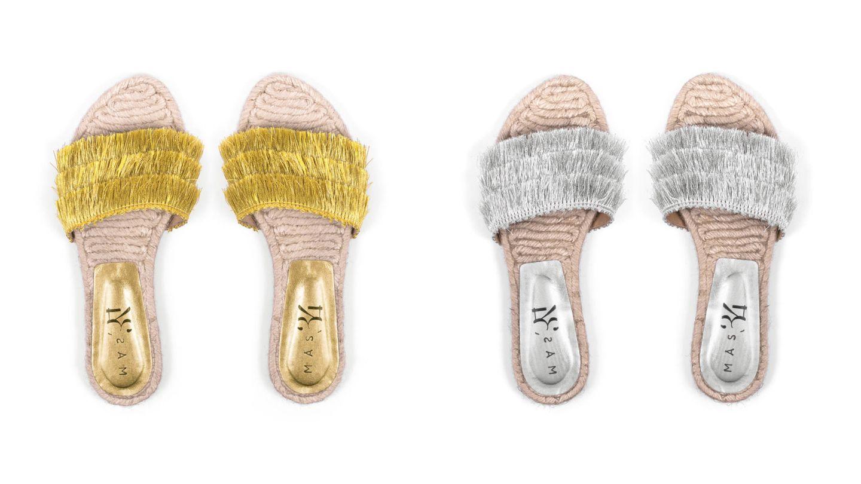 Sandalias con flecos dorados y plateados de Más34 (69€).