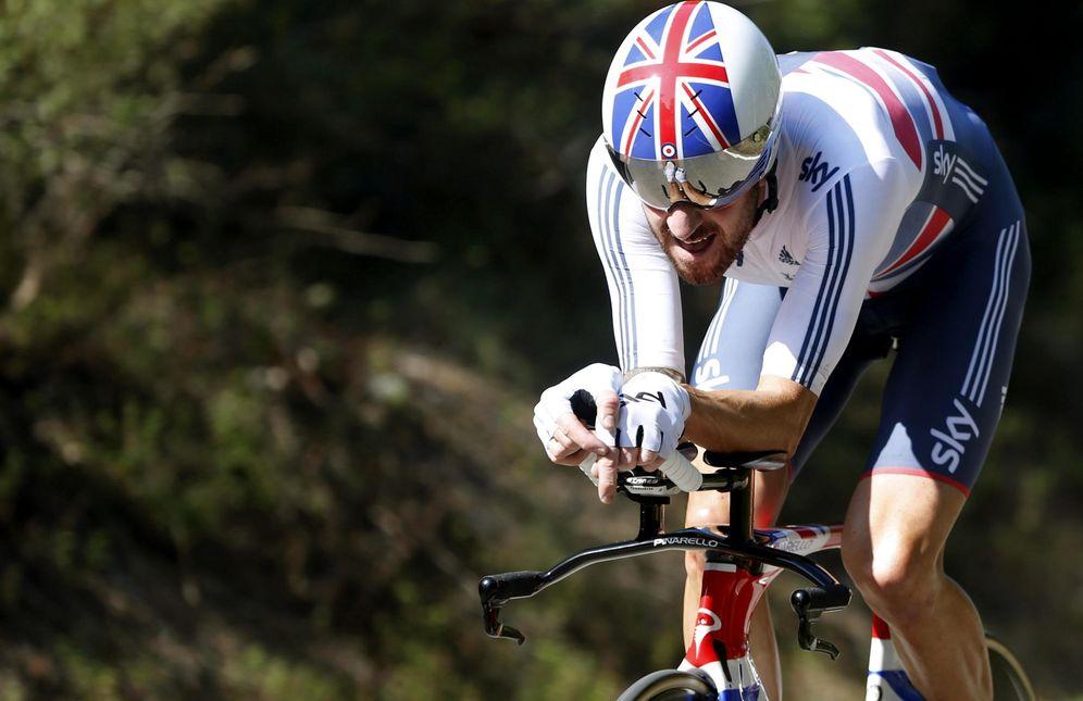 Foto: Bradley Wiggins durante el Mundial de Ciclismo celebrado en Ponferrada (Efe).