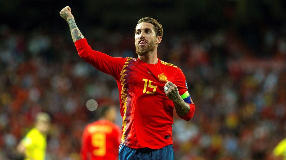 Foto: Sergio Ramos celebra un gol ante Suecia. (EFE)