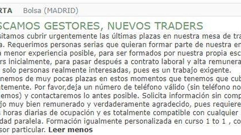 Oferta de trabajo para 'traders'. (milanuncios.com)