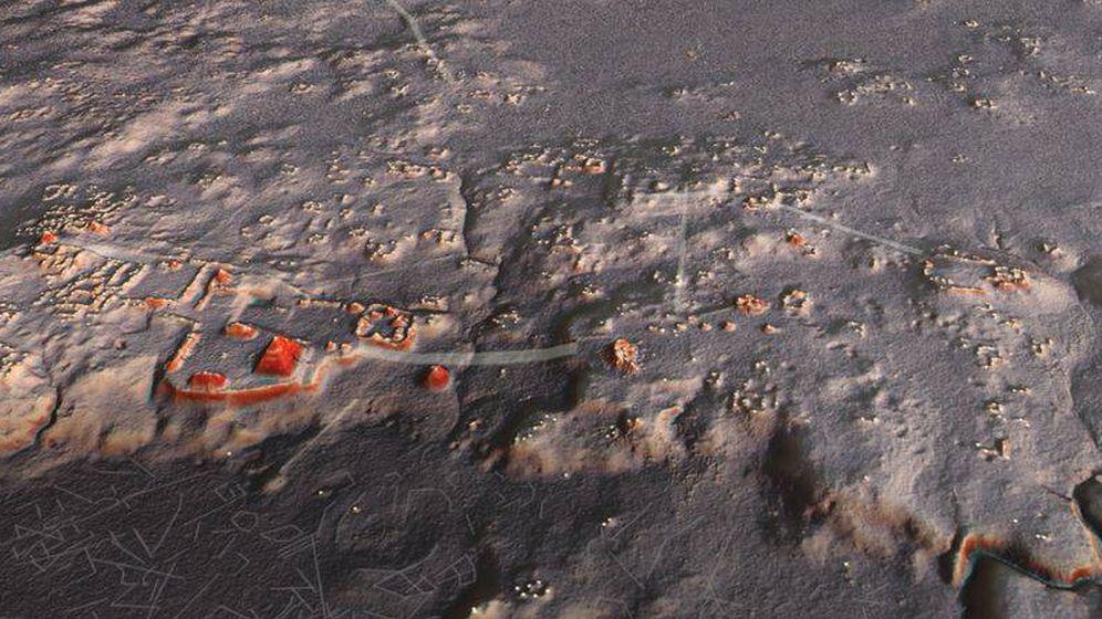 Foto: Imagen del LIDAR de buena parte de las estructuras mayas desconocidas hasta la fecha. (Sciencie)