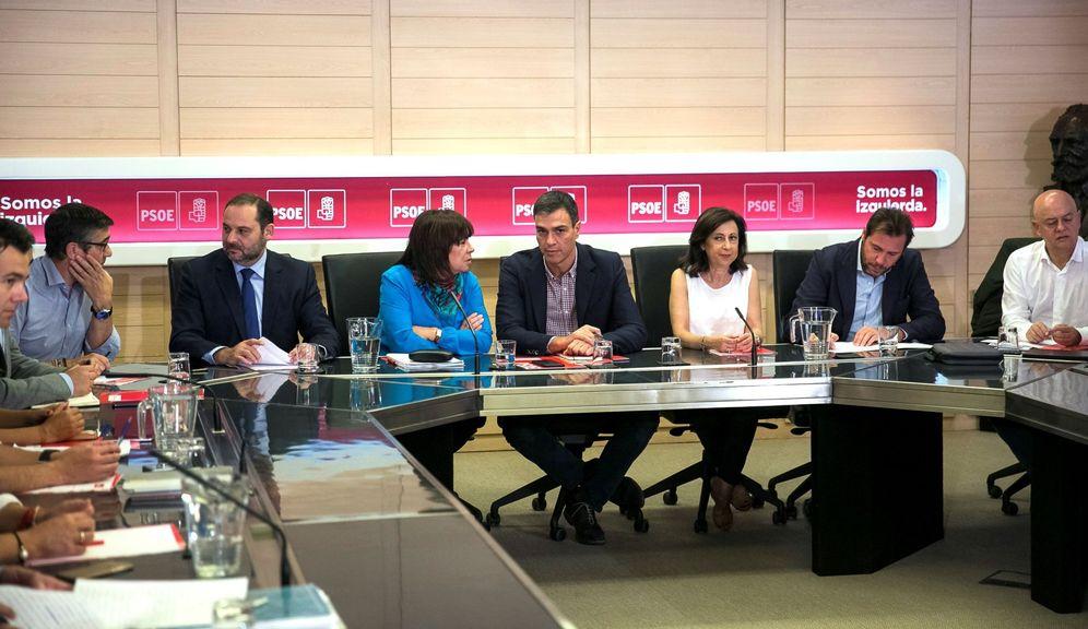 Foto: Pedro Sánchez, este 16 de octubre durante la reunión de la comisión permanente de la ejecutiva federal del PSOE. (EFE)