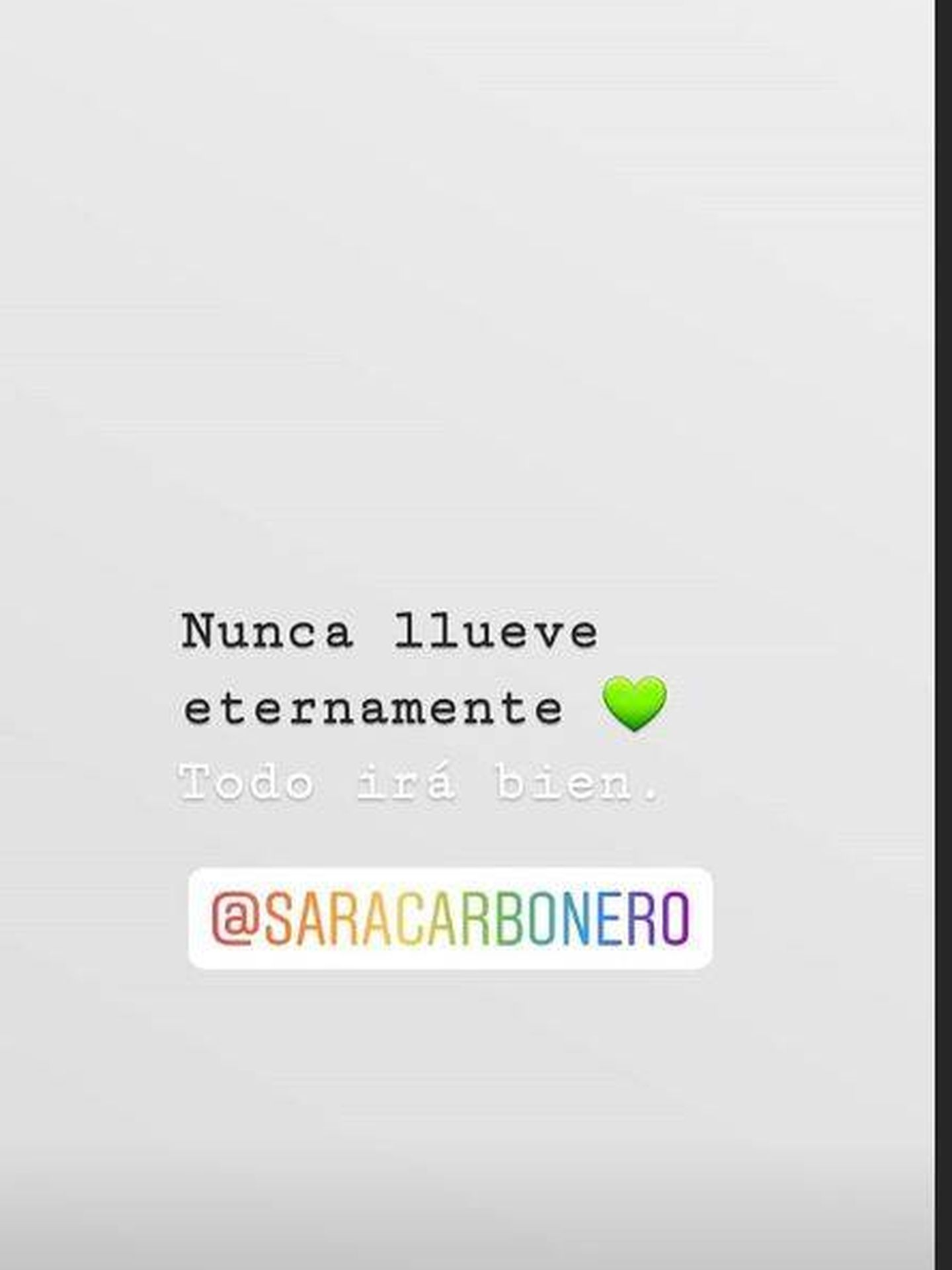 Captura de los 'stories' de Sara Carbonero.(Instagram)