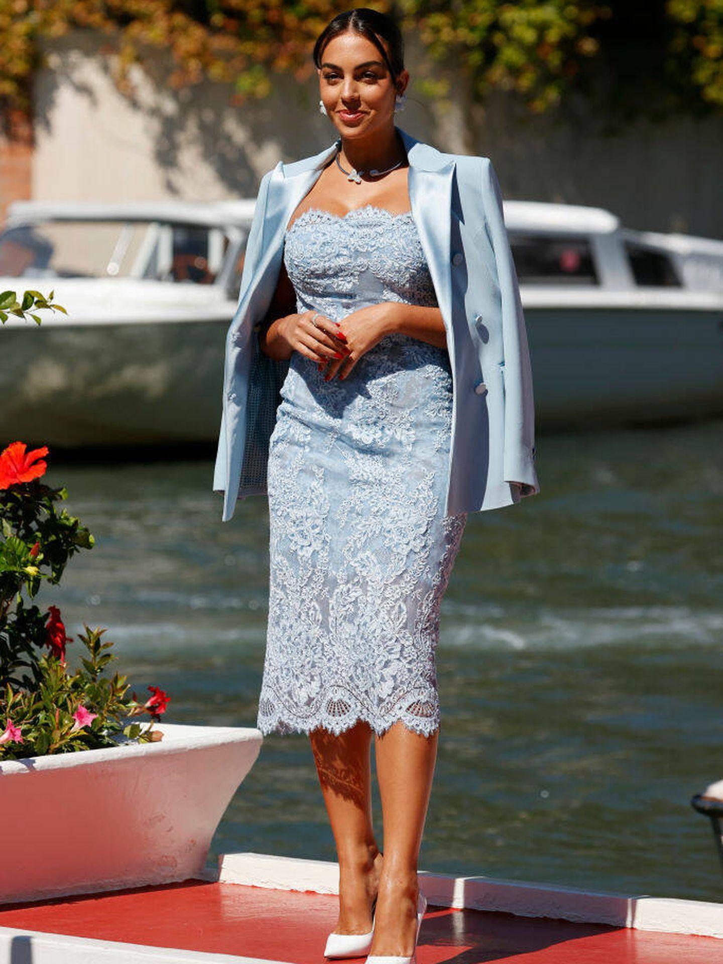 Georgina Rodríguez llega al Festival de Venecia 2021. (Getty)