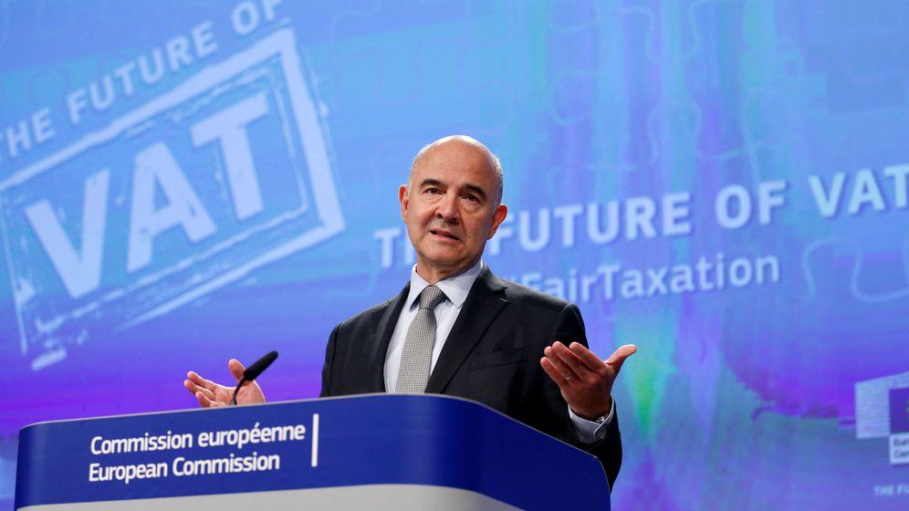 Foto: Pierre Moscovici en su intervención en el Ecofin