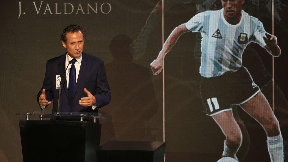 Foto: Jorge Valdano, durante la ceremonia de Investidura del Salón de la Fama del Fútbol, en la ciudad de Pachuca. (EFE)
